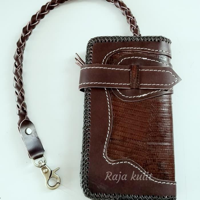 dompet kulit panjang desain tebaru anyam model harley davidson