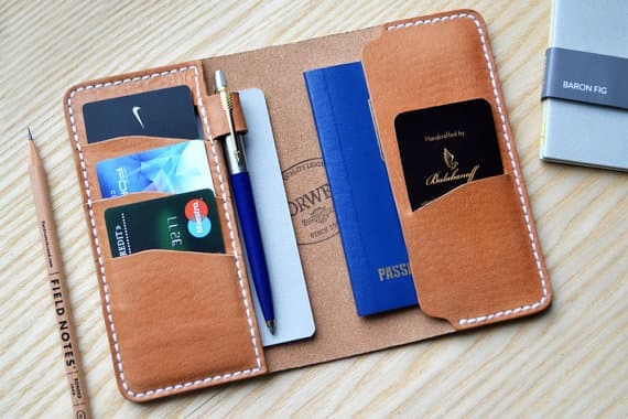 file notes dan dompet panjang warna tan